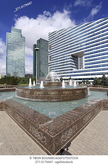 Kazakhstan; Astana, Nurzhol Boulevard, fountain, highrise buildings,