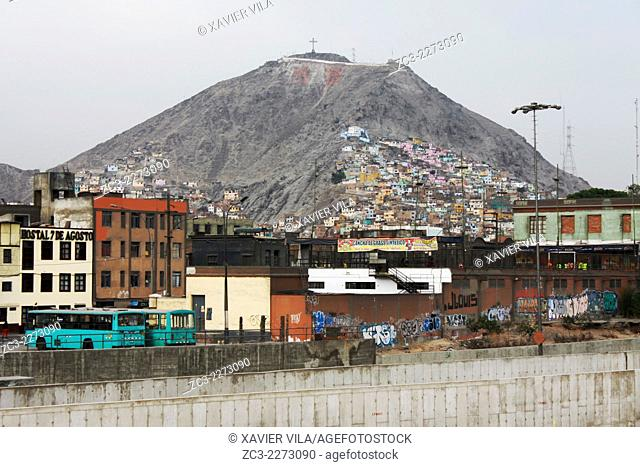 Rimac Shantytown on the hill in the north of Lima, a poor district, Lima, capital of Peru