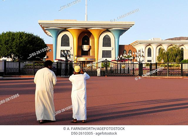 MUSCAT, OMAN Old Muscat, Grounds of the Al Alam ceremonial Palace for ruling Sultan Qaboos