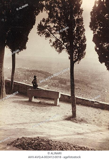 The bench of the English people in Via San Francesco, Fiesole, shot 07/1921