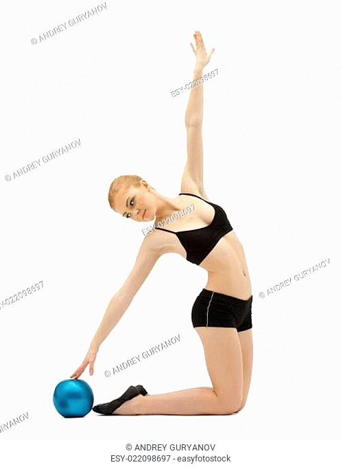 cute woman in black training with ball