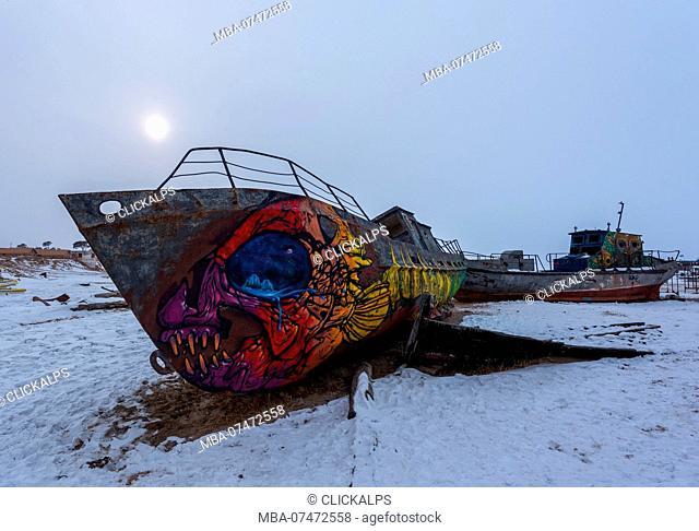 Ships at the port of Khuzhr village, lake Baikal, Khuzhir, Irkutsk region, Siberia, Russia