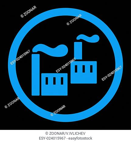 Industry flat blue color rounded vector icon