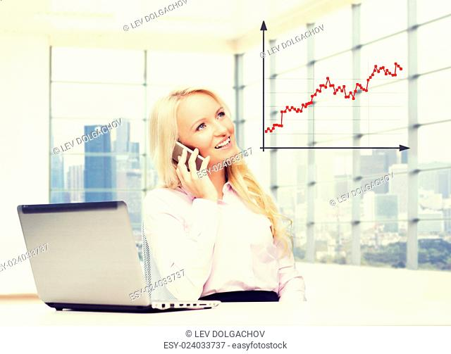 business, finances, communication and technology concept - smiling businesswoman with laptop computer calling on smartphone over office room with city view...
