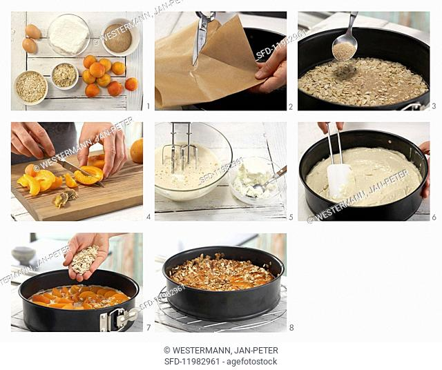 Apricot cheesecake with oats being made
