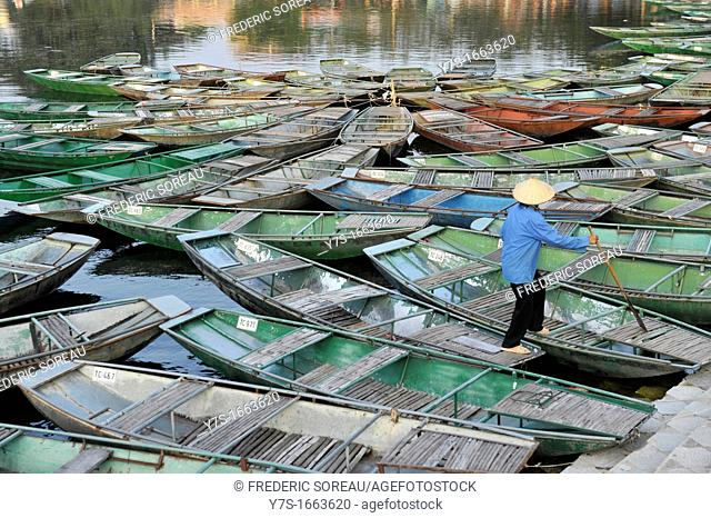 Asia,South East Asia,Vietnam,boats in harbour at Tam Coc National Park