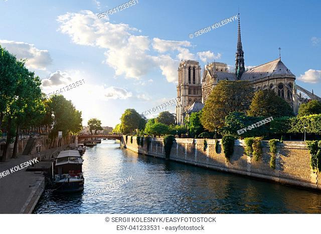 Sunlight on Notre Dame de Paris at sunrise, France