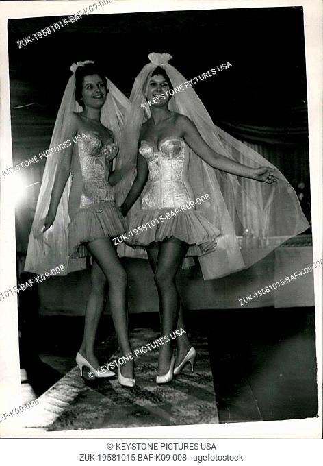 Oct. 15, 1958 - Spring Foundation Garments on Show. German models this afternoon showed the Triumph Foundation Garments Collection for 1959, at the Milroy Club