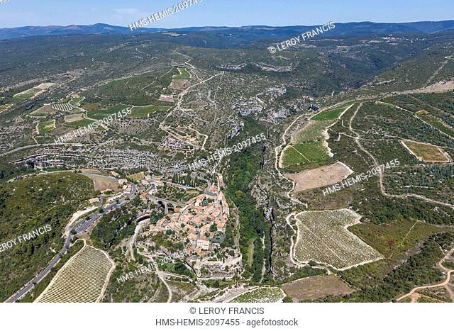 France, Herault, Minerve, labelled Les Plus Beaux Villages de France (The Most Beautiful Villages of France), the village and la Montagne Noire (aerial view)