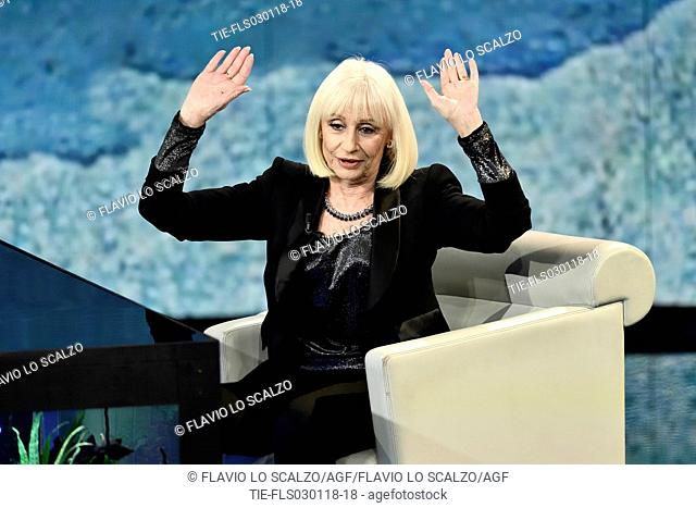 The showgirl Raffaella Carra' during the tv show Che tempo che fa, Milan, ITALY-02-12-2018