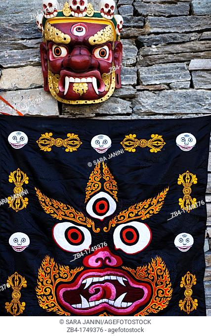 Bhutanese Ceremonial Mask, Thimphu, Bhutan, Asia