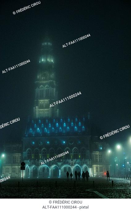 The Arras Belfry and Town Hall illuminated at night, Arras, France