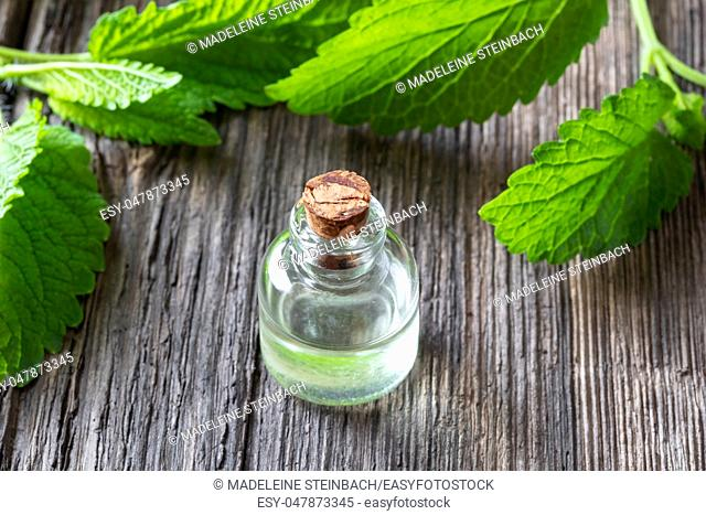 A bottle of essential oil with fresh melissa