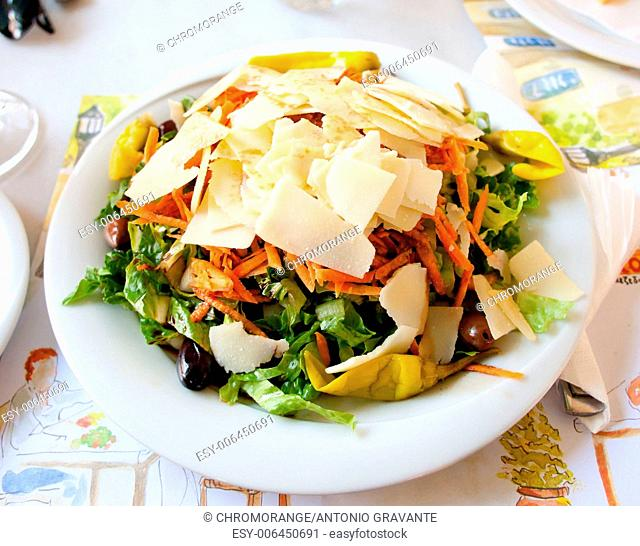 Fresh vegetable Greek salad, typical greek food