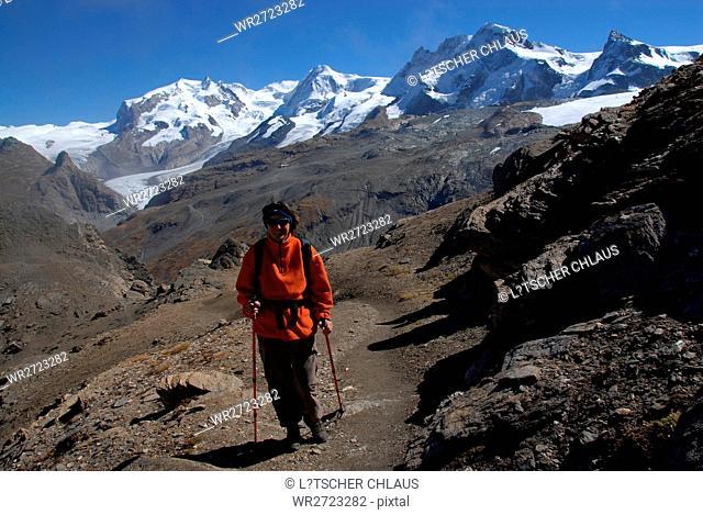 alps, alpine, trail hiker hike, hiking, walk, walking, woman, female, schwarzsee, monte rosa, lyskamm, breithorn, klein Matterhorn, blue, sky, autumn, fall
