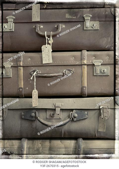 Antique, old suitcases in a stack
