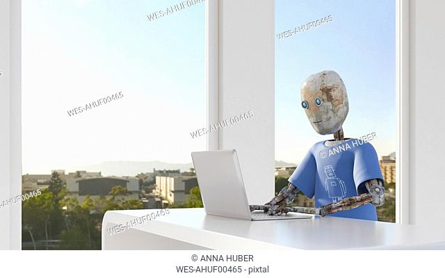 Robot working in office, using laptop