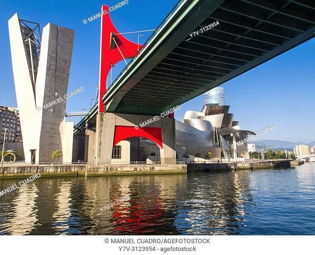 Guggenheim Museum and Puente de La Salve. Bilbao, Biscay, Basque Country, Spain