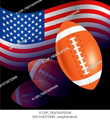 Flag of United States with American football, rugby