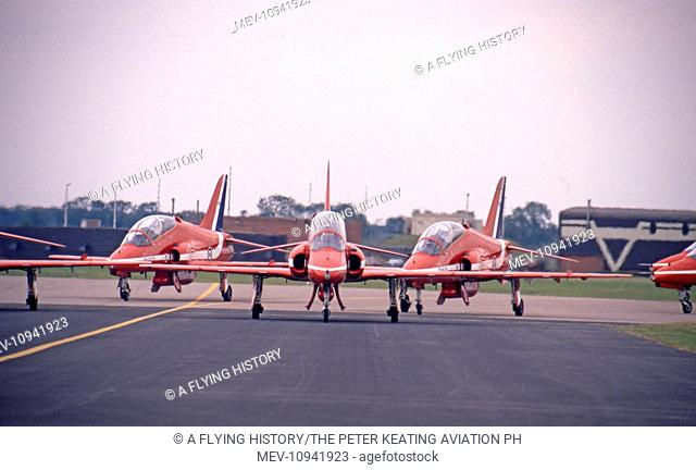 RAFAT RAF Red Arrows BAe Systems Hawks taxy out for their display at RIAT Fairford on 30 July 1994