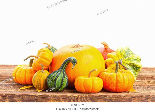 pile of raw orange pumpkins on wooden table isolated on white background