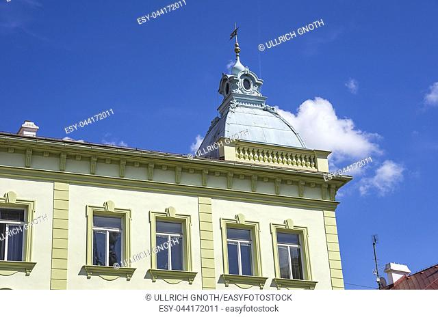 Klatovy, Czech Republic - Detail of historical residential architecture with turret on rooftop. Klattau (Klatovy), Tschechien - Detail eines historischen...