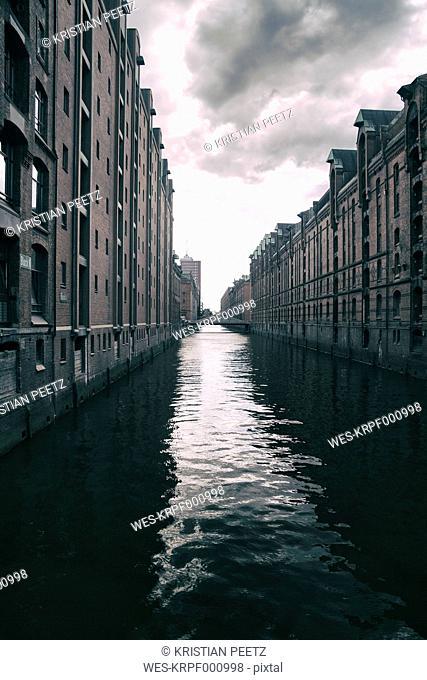 Germany, Hamburg, Warehouse district, Warehouses at Canal