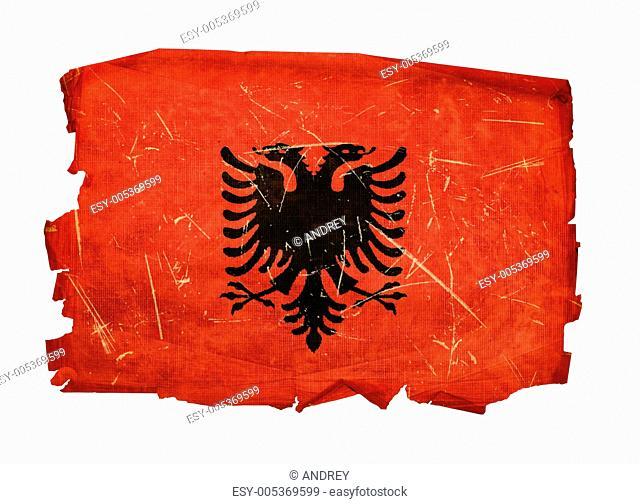 Albania Flag old, isolated on white background