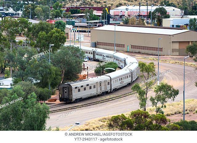 Aerial view of the rear of the Ghan train at Alice Springs railway station. NT. Australia