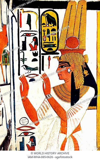 Egyptian tomb wall painting from Thebes, Luxor. Dated 11th Century BC