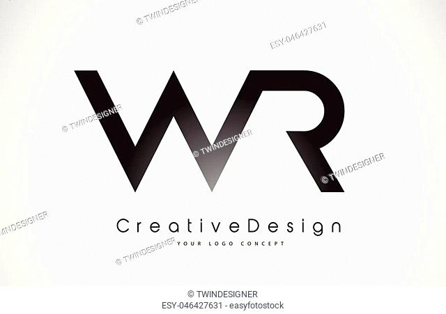 WR W R Letter Logo Design in Black Colors. Creative Modern Letters Vector Icon Logo Illustration