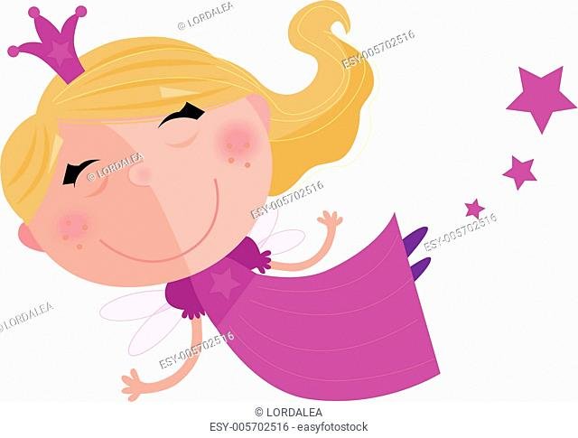 Cute Fairy Princess Character isolated on white background