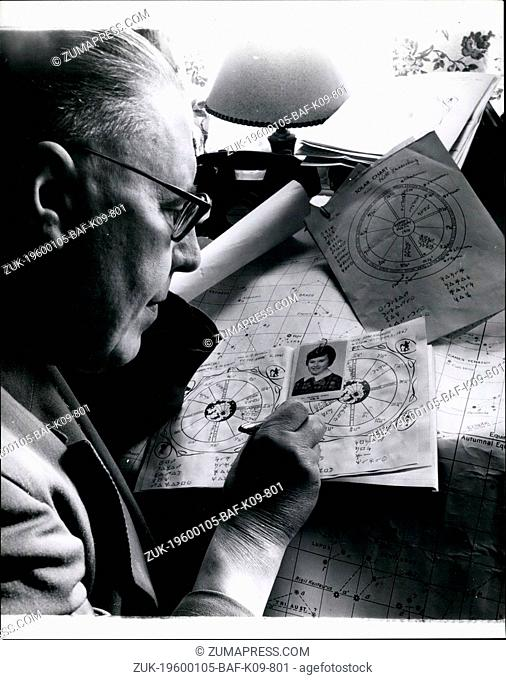 1968 - Mr. Tucker works on the horescope and astrological chart for one of the hundreds of people who write to him from nearly every country in the world