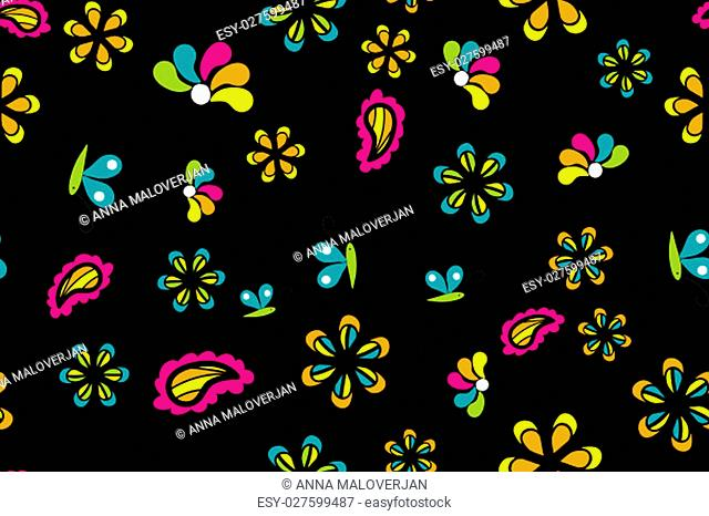 Seamless pattern with beautiful flowers on black background
