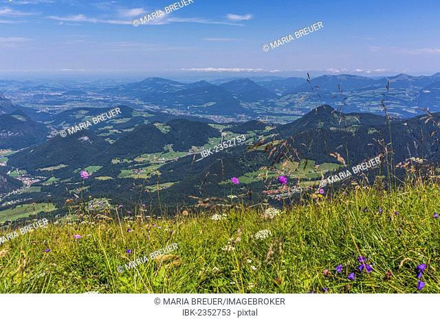View from Kehlsteinhaus, known as Eagle's Nest, towards the Alps, Berchtesgadener Land, Bavaria, Germany, Europe
