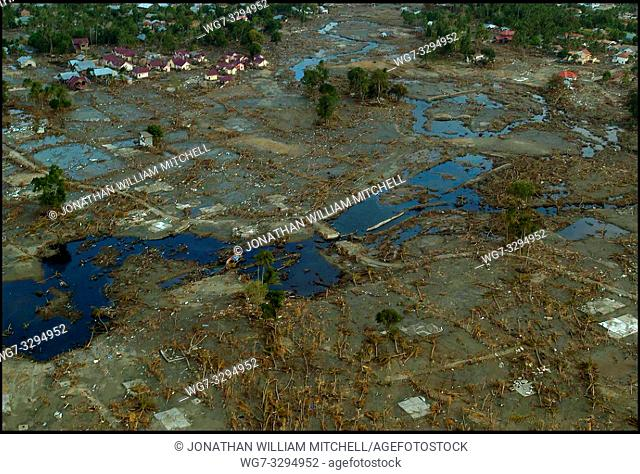 INDONESIA Near Banda Aceh -- 01 Jan 2005 -- Aerial view of an unidentified village in the countryside south of Banda Aceh after it was hit by a devastating...
