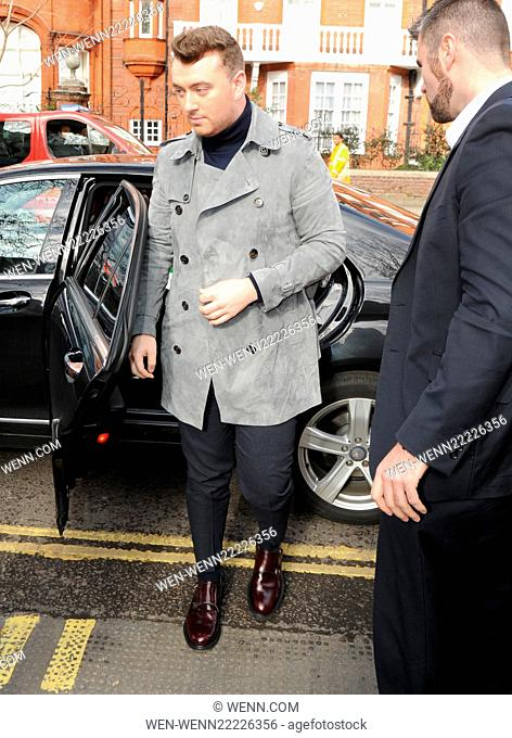 London Fashion Week Autumn/Winter 2015 - Burberry Prorsum - Outside Arrivals Featuring: Sam Smith Where: London, United Kingdom When: 23 Feb 2015 Credit: WENN