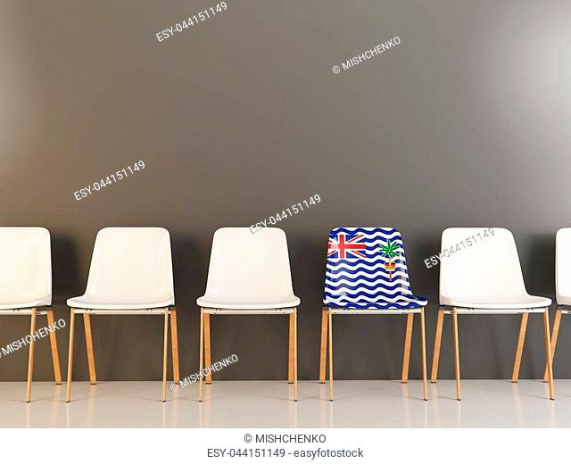 Chair with flag of british indian ocean territory in a row of white chairs. 3D illustration