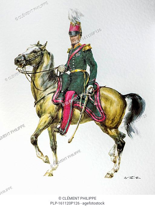 Belgian officer on horseback in uniform of the 1848-1850 General Staff