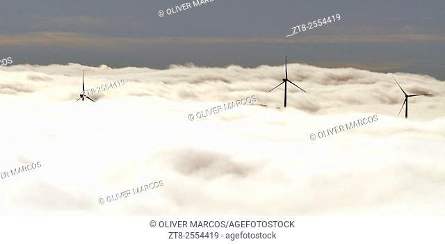 Wind turbines, Sierra de Teleno, Montes de León, León province, Spain