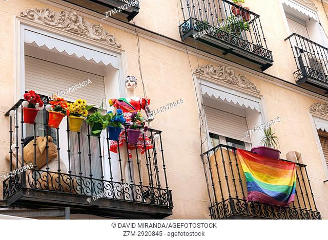 Flags in balconies during gay pride festival. Chueca district. Madrid. Spain
