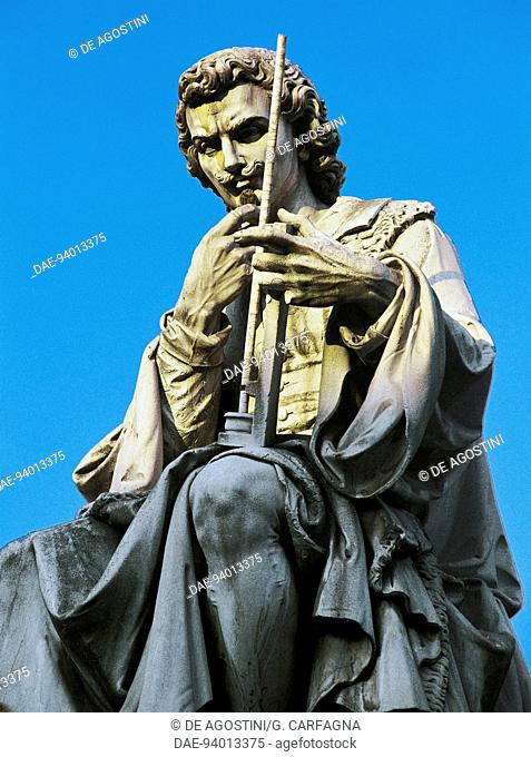 Statue of Evangelista Torricelli (Faenza, 1608-Florence, 1647), Italian mathematician and physicist, Faenza, Emilia-Romagna, Italy. Detail