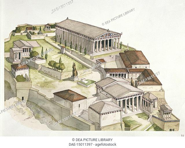 Greek civilization - Ancient Athens - Reconstruction of the Acropolis. Color illustration