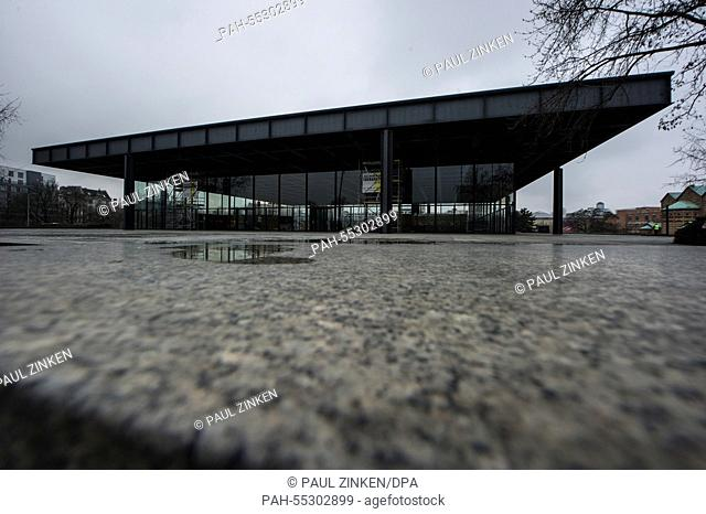 Scaffolding stands in front of the Neue Nationalgalerie in Berlin, Germany, 21 January 2015. the Mies van der Rohe building on Postdamer Platz serves as an icon...