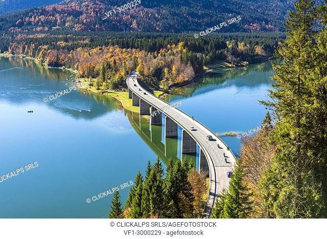Bad Tölz, Bavaria, Germany, Europe. Sylvenstein bridge in autumn season