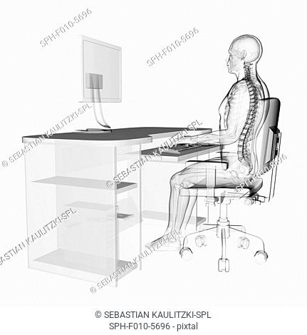Person using a computer sitting at a desk with the correct posture, computer artwork