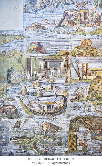 Pictures of the famous Roman Palestrina Nilotic landscape Mosaic or Nile mosaic of Palestrina, 1st or 2nd century BC. Museo Archeologico Nazionale di Palestrina...