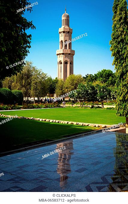 Sultan Qaboos Grand Mosque, Muscat, Sultanate of Oman, Middle East, Minaret in the Gran Mosque