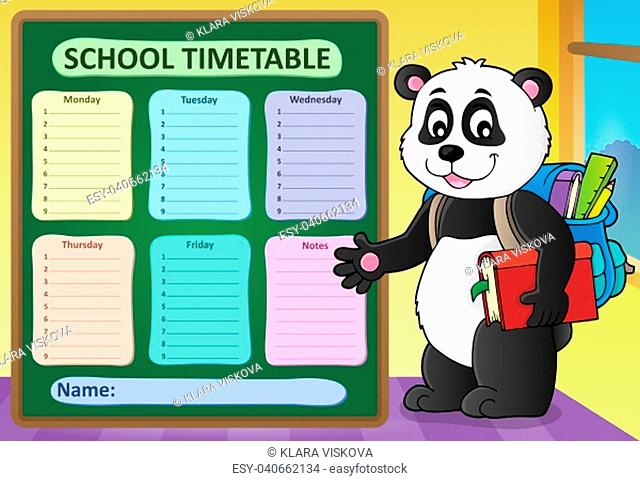Weekly school timetable template 6 - picture illustration