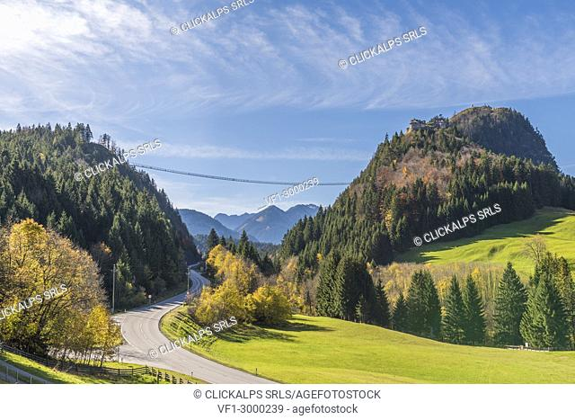 Reutte, Tyrol, Austria, Europe. Ehrenberg Castle and the Highline 179, the world's longest pedestrian suspension bridge